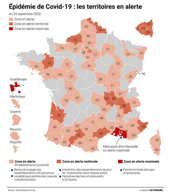 """Carte de France """"Covid"""" du 23 septembre et mesures restrictives jusqu'au 10 Octobre"""